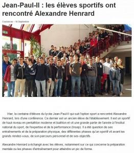 Les élèves sportifs ont rencontré Alexandre Henrard - Ouest France 16/09/2015, en ligne