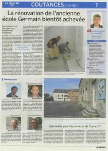 La rénovation de l'ancienne école Germain bientôt achevée - La Manche Libre 20/06/2015, Coutances