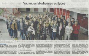 Vacances studieuses au lycée (La Manche Libre 16/04/2016, Coutances