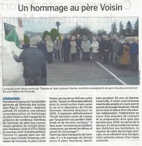 Un hommage au père Voisin - La Manche Libre 01/11/2014, Coutances