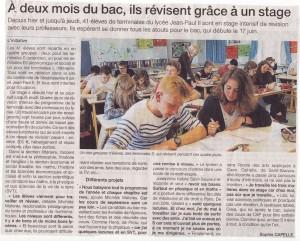 À deux mois du bac, ils révisent en stage - Ouest France 14/04/2015, Coutances